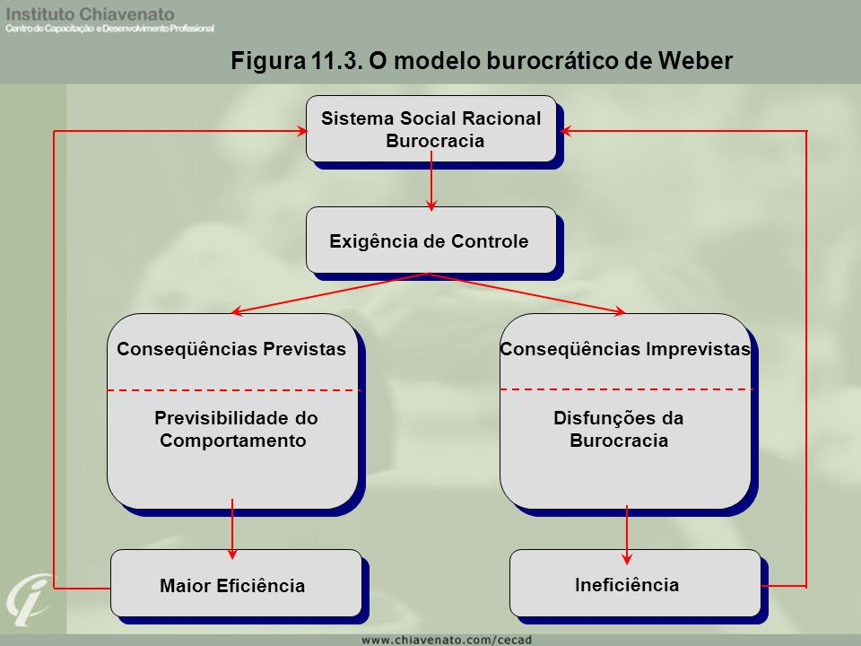 Figura 11.3. O modelo burocrático de Weber Sistema Social Racional Burocracia Exigência de Controle Conseqüências Previstas Previsibilidade do Comport