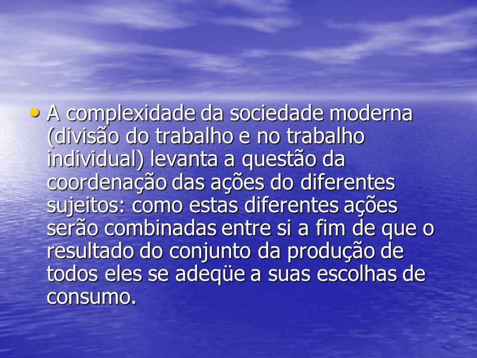 A complexidade da sociedade moderna (divisão do trabalho e no trabalho individual) levanta a questão da coordenação das ações do diferentes sujeitos: