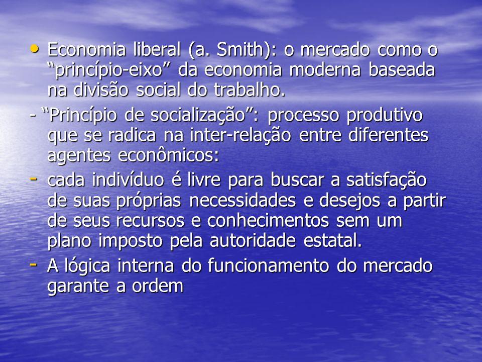 Economia liberal (a. Smith): o mercado como o princípio-eixo da economia moderna baseada na divisão social do trabalho. Economia liberal (a. Smith): o