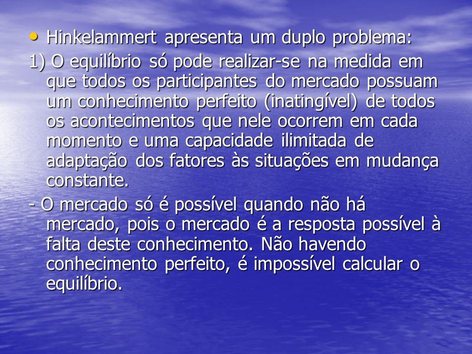Hinkelammert apresenta um duplo problema: Hinkelammert apresenta um duplo problema: 1) O equilíbrio só pode realizar-se na medida em que todos os part