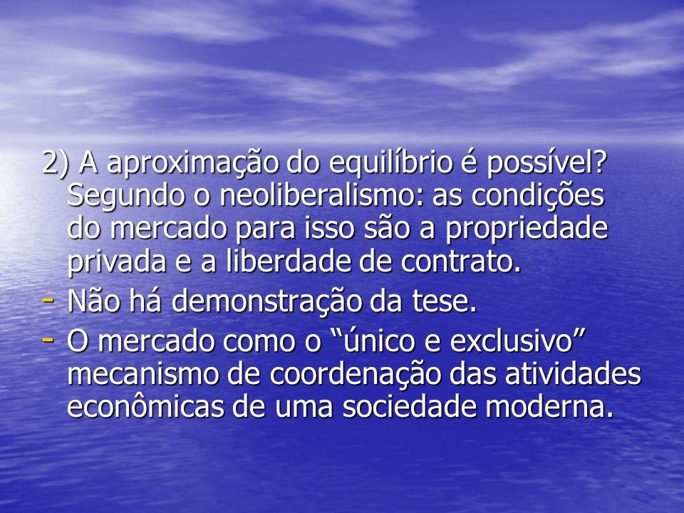 2) A aproximação do equilíbrio é possível? Segundo o neoliberalismo: as condições do mercado para isso são a propriedade privada e a liberdade de cont