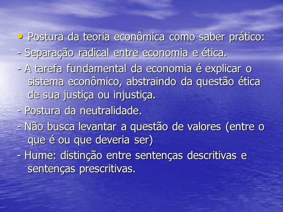 Postura da teoria econômica como saber prático: Postura da teoria econômica como saber prático: - Separação radical entre economia e ética. - A tarefa