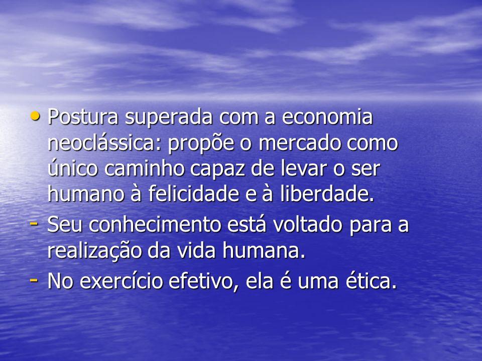 Postura superada com a economia neoclássica: propõe o mercado como único caminho capaz de levar o ser humano à felicidade e à liberdade. Postura super