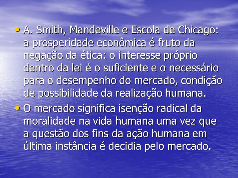 A. Smith, Mandeville e Escola de Chicago: a prosperidade econômica é fruto da negação da ética: o interesse próprio dentro da lei é o suficiente e o n