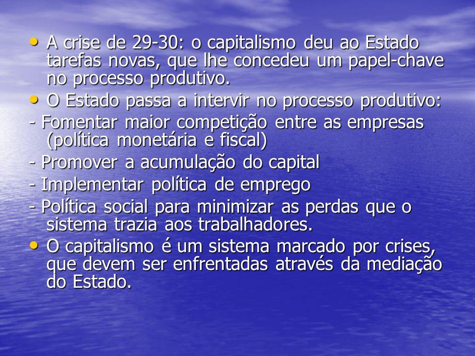 A crise de 29-30: o capitalismo deu ao Estado tarefas novas, que lhe concedeu um papel-chave no processo produtivo. A crise de 29-30: o capitalismo de