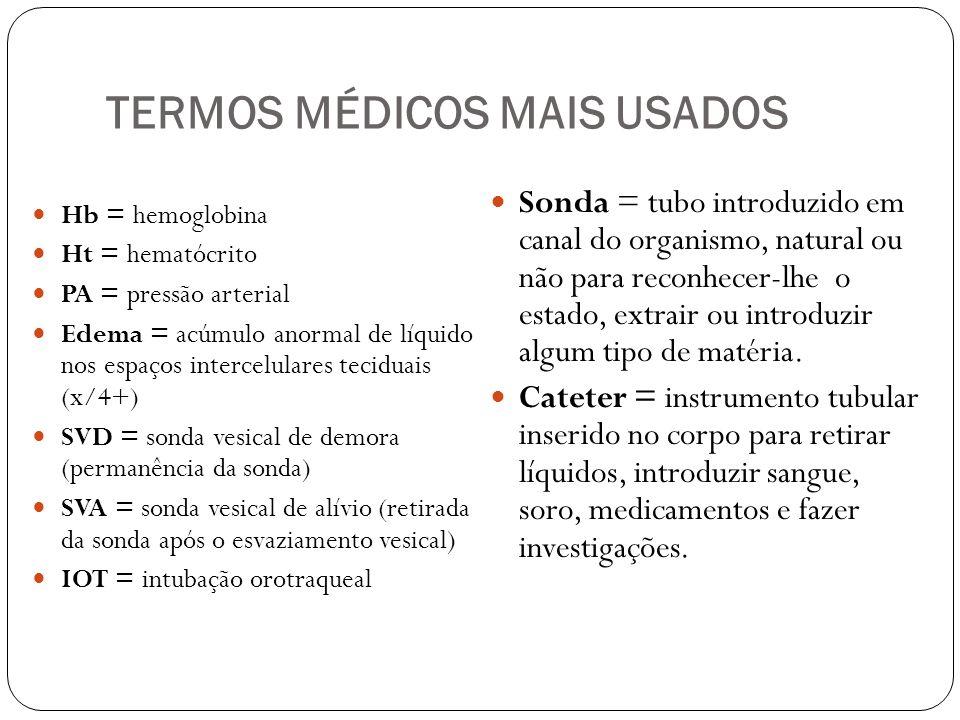 TERMOS MÉDICOS MAIS USADOS Hb = hemoglobina Ht = hematócrito PA = pressão arterial Edema = acúmulo anormal de líquido nos espaços intercelulares tecid