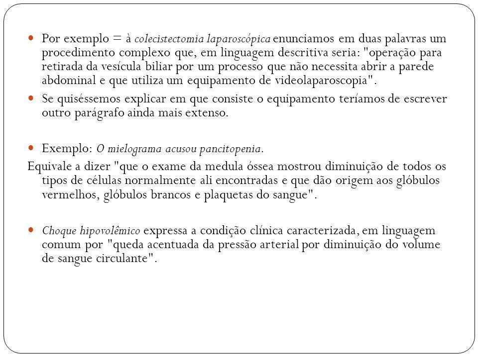 Por exemplo = à colecistectomia laparoscópica enunciamos em duas palavras um procedimento complexo que, em linguagem descritiva seria: