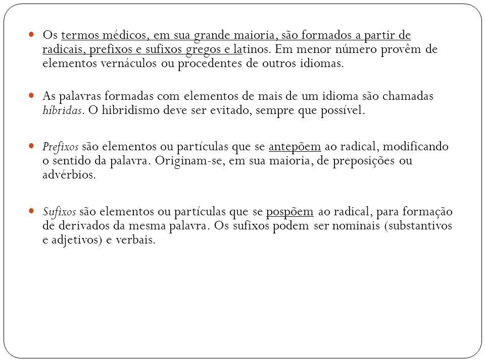 Os termos médicos, em sua grande maioria, são formados a partir de radicais, prefixos e sufixos gregos e latinos. Em menor número provêm de elementos