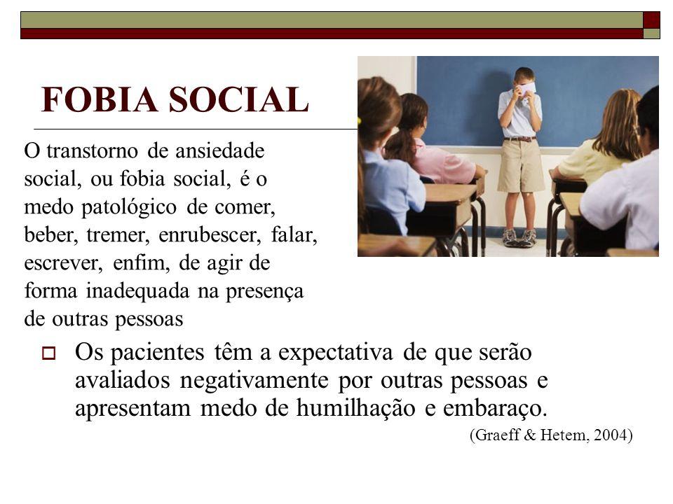 FOBIA SOCIAL Os pacientes têm a expectativa de que serão avaliados negativamente por outras pessoas e apresentam medo de humilhação e embaraço. (Graef