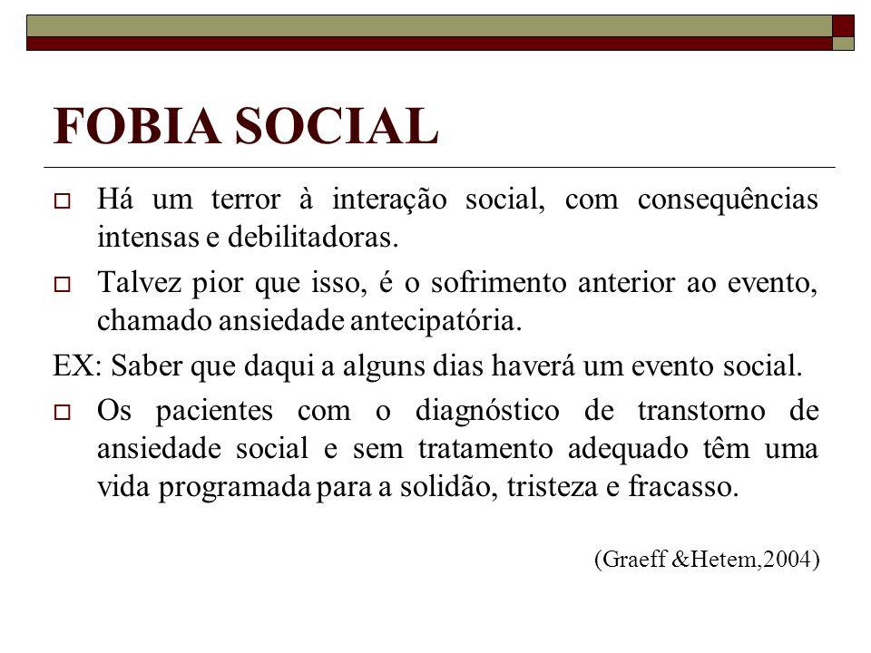 FOBIA SOCIAL Há um terror à interação social, com consequências intensas e debilitadoras. Talvez pior que isso, é o sofrimento anterior ao evento, cha