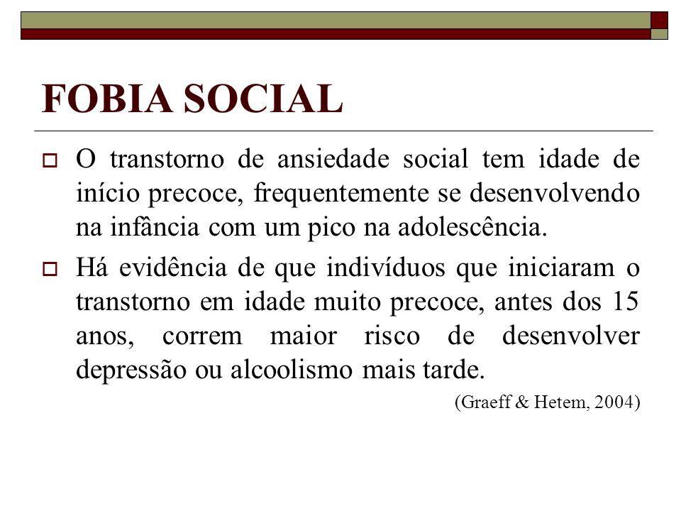 FOBIA SOCIAL O transtorno de ansiedade social tem idade de início precoce, frequentemente se desenvolvendo na infância com um pico na adolescência. Há
