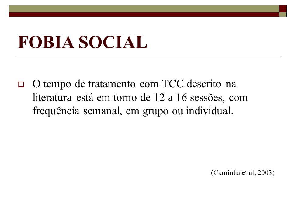 FOBIA SOCIAL O tempo de tratamento com TCC descrito na literatura está em torno de 12 a 16 sessões, com frequência semanal, em grupo ou individual. (C