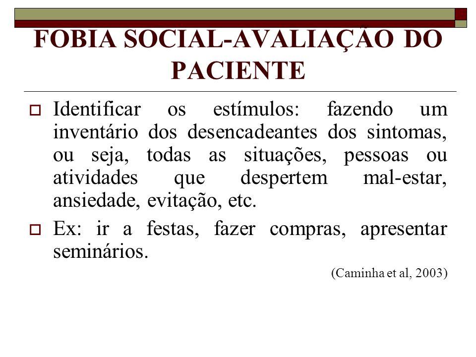FOBIA SOCIAL-AVALIAÇÃO DO PACIENTE Identificar os estímulos: fazendo um inventário dos desencadeantes dos sintomas, ou seja, todas as situações, pesso