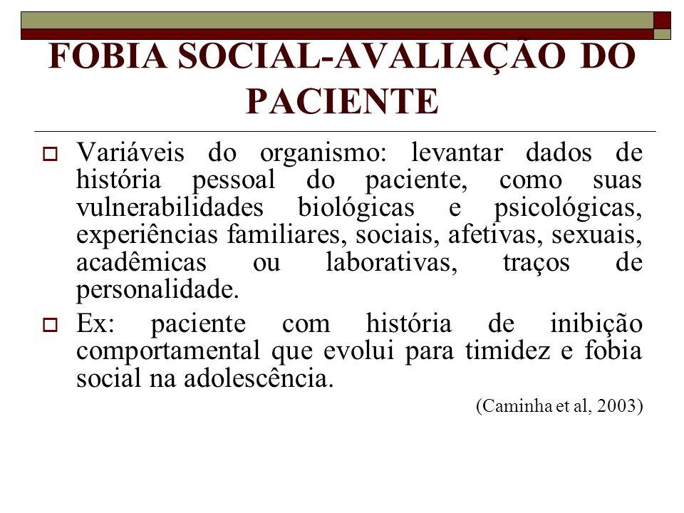 FOBIA SOCIAL-AVALIAÇÃO DO PACIENTE Variáveis do organismo: levantar dados de história pessoal do paciente, como suas vulnerabilidades biológicas e psi