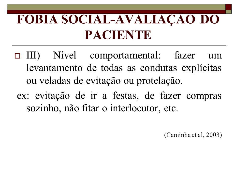 FOBIA SOCIAL-AVALIAÇÃO DO PACIENTE III) Nível comportamental: fazer um levantamento de todas as condutas explícitas ou veladas de evitação ou protelaç