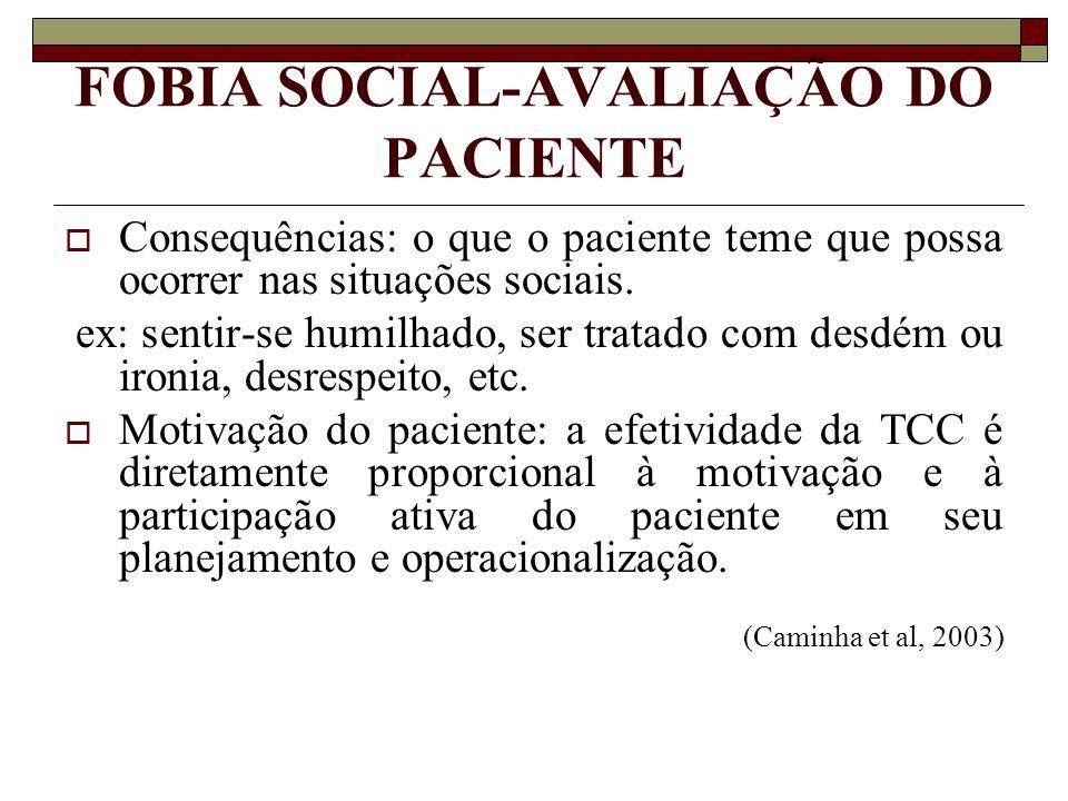 FOBIA SOCIAL-AVALIAÇÃO DO PACIENTE Consequências: o que o paciente teme que possa ocorrer nas situações sociais. ex: sentir-se humilhado, ser tratado