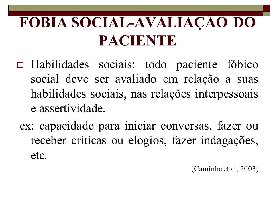 FOBIA SOCIAL-AVALIAÇÃO DO PACIENTE Habilidades sociais: todo paciente fóbico social deve ser avaliado em relação a suas habilidades sociais, nas relaç