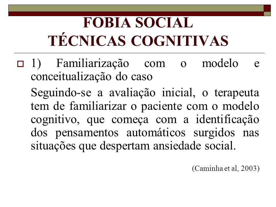 FOBIA SOCIAL TÉCNICAS COGNITIVAS 1) Familiarização com o modelo e conceitualização do caso Seguindo-se a avaliação inicial, o terapeuta tem de familia