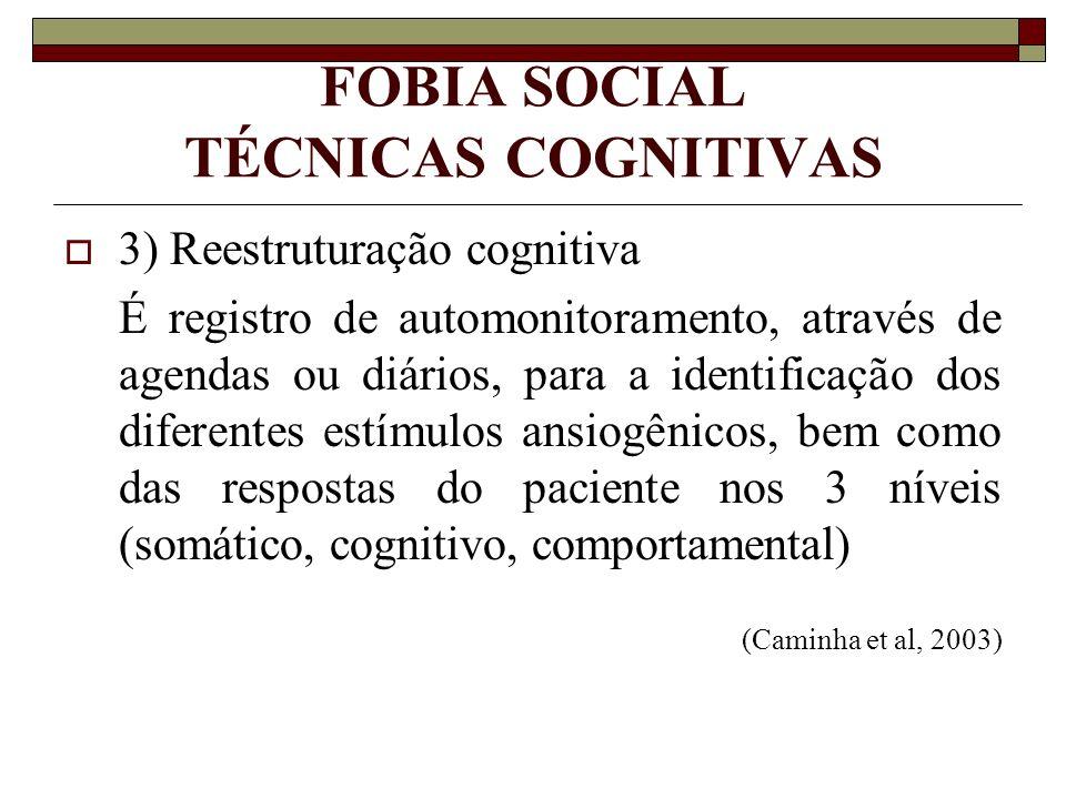 FOBIA SOCIAL TÉCNICAS COGNITIVAS 3) Reestruturação cognitiva É registro de automonitoramento, através de agendas ou diários, para a identificação dos