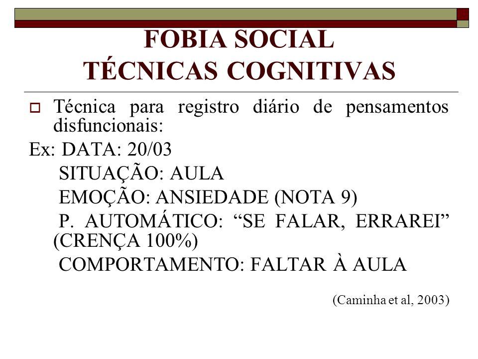 FOBIA SOCIAL TÉCNICAS COGNITIVAS Técnica para registro diário de pensamentos disfuncionais: Ex: DATA: 20/03 SITUAÇÃO: AULA EMOÇÃO: ANSIEDADE (NOTA 9)