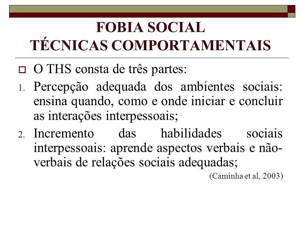 FOBIA SOCIAL TÉCNICAS COMPORTAMENTAIS O THS consta de três partes: 1. Percepção adequada dos ambientes sociais: ensina quando, como e onde iniciar e c