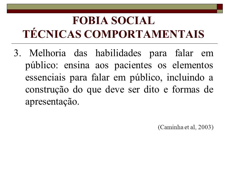 FOBIA SOCIAL TÉCNICAS COMPORTAMENTAIS 3. Melhoria das habilidades para falar em público: ensina aos pacientes os elementos essenciais para falar em pú