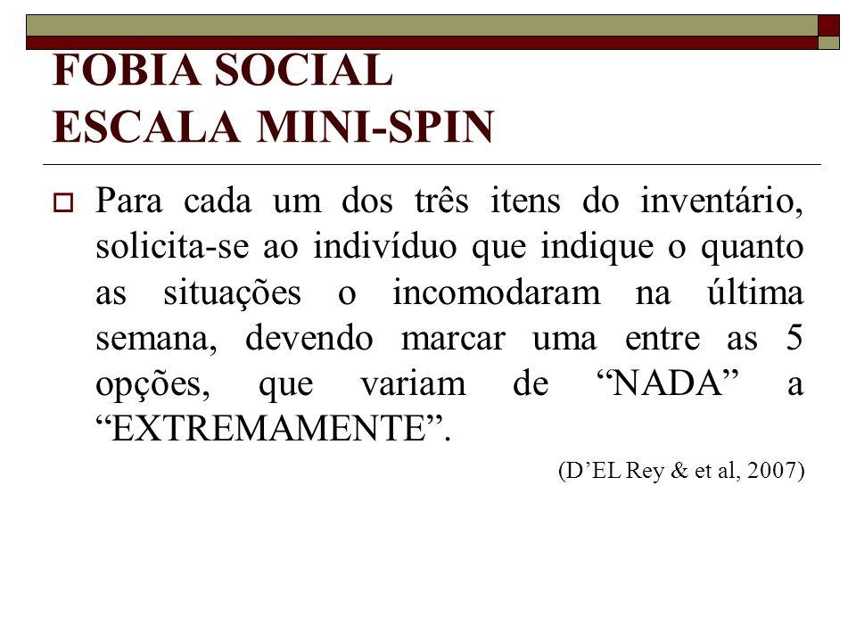 FOBIA SOCIAL ESCALA MINI-SPIN Para cada um dos três itens do inventário, solicita-se ao indivíduo que indique o quanto as situações o incomodaram na ú