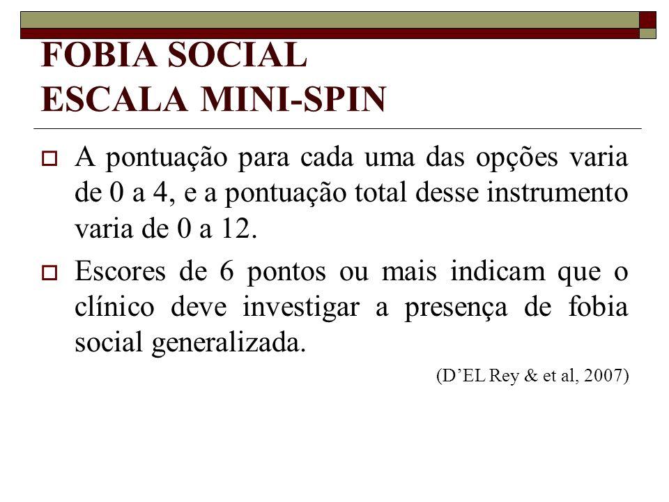 FOBIA SOCIAL ESCALA MINI-SPIN A pontuação para cada uma das opções varia de 0 a 4, e a pontuação total desse instrumento varia de 0 a 12. Escores de 6