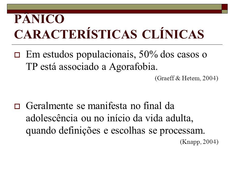 PÂNICO CARACTERÍSTICAS CLÍNICAS Em estudos populacionais, 50% dos casos o TP está associado a Agorafobia. (Graeff & Hetem, 2004) Geralmente se manifes