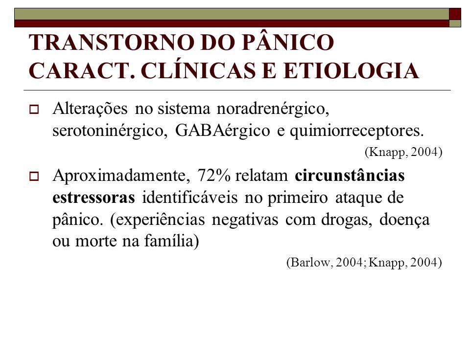 TRANSTORNO DO PÂNICO CARACT. CLÍNICAS E ETIOLOGIA Alterações no sistema noradrenérgico, serotoninérgico, GABAérgico e quimiorreceptores. (Knapp, 2004)