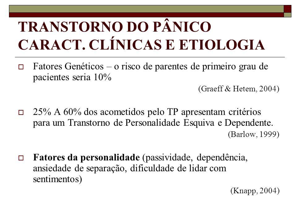 TRANSTORNO DO PÂNICO CARACT. CLÍNICAS E ETIOLOGIA Fatores Genéticos – o risco de parentes de primeiro grau de pacientes seria 10% (Graeff & Hetem, 200