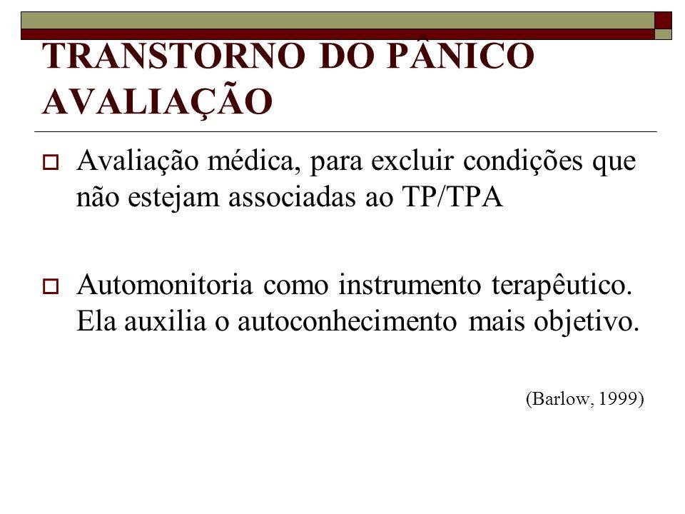 TRANSTORNO DO PÂNICO AVALIAÇÃO Avaliação médica, para excluir condições que não estejam associadas ao TP/TPA Automonitoria como instrumento terapêutic