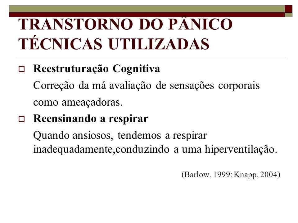 TRANSTORNO DO PÂNICO TÉCNICAS UTILIZADAS Reestruturação Cognitiva Correção da má avaliação de sensações corporais como ameaçadoras. Reensinando a resp