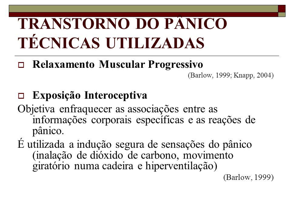 TRANSTORNO DO PÂNICO TÉCNICAS UTILIZADAS Relaxamento Muscular Progressivo (Barlow, 1999; Knapp, 2004) Exposição Interoceptiva Objetiva enfraquecer as