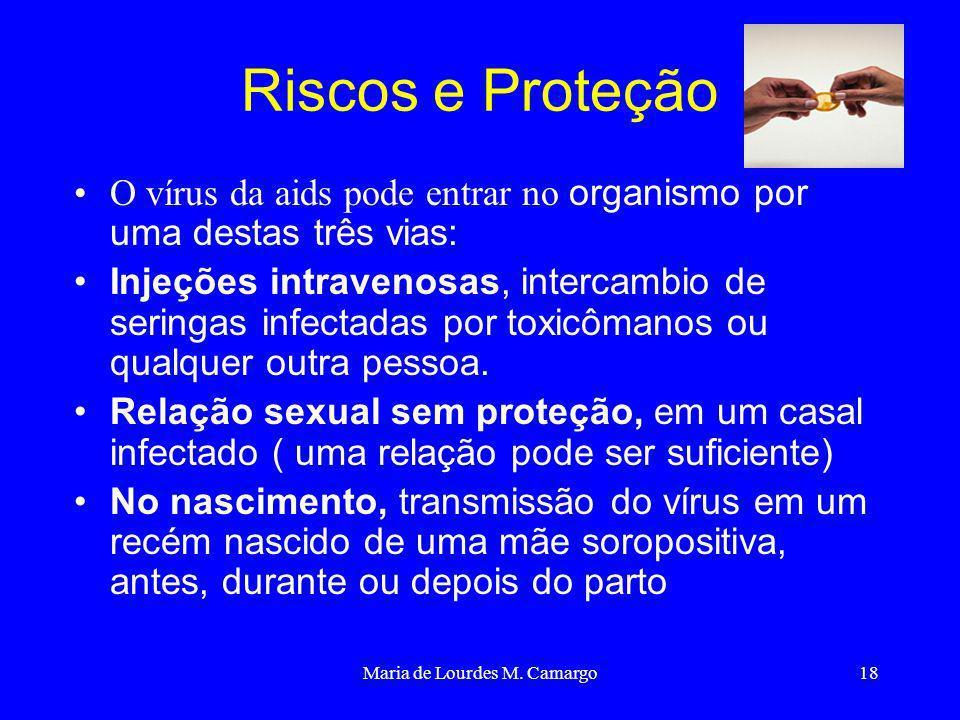 Maria de Lourdes M. Camargo18 Riscos e Proteção O vírus da aids pode entrar no organismo por uma destas três vias: Injeções intravenosas, intercambio