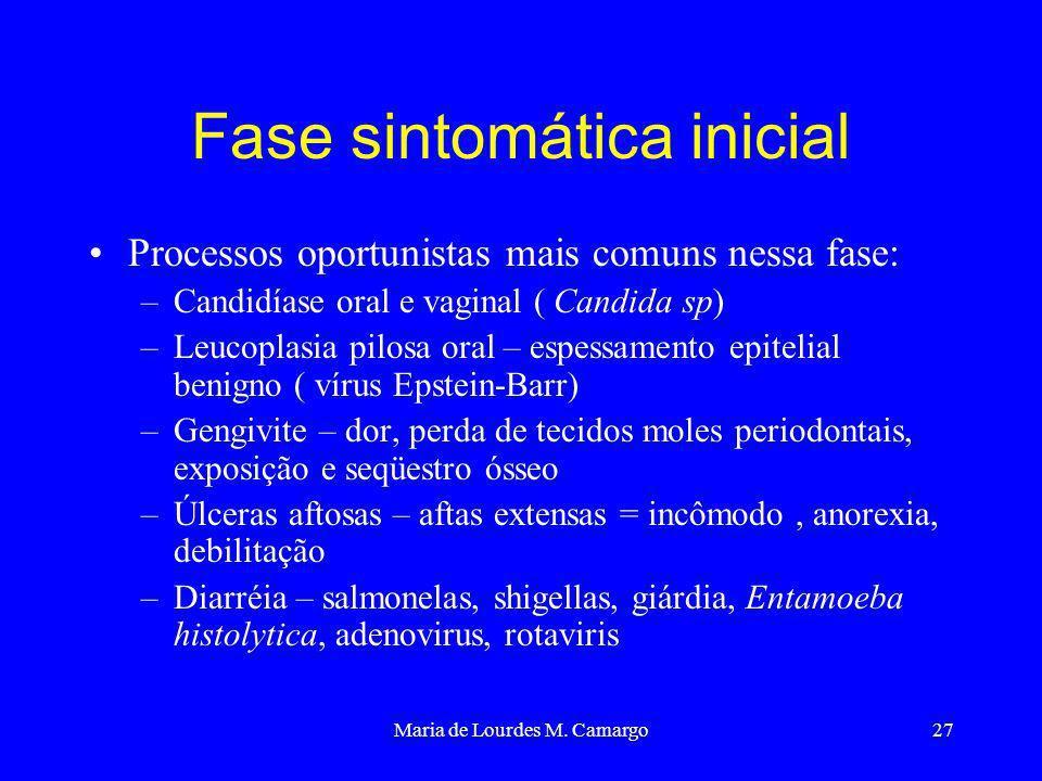 Maria de Lourdes M. Camargo27 Fase sintomática inicial Processos oportunistas mais comuns nessa fase: –Candidíase oral e vaginal ( Candida sp) –Leucop