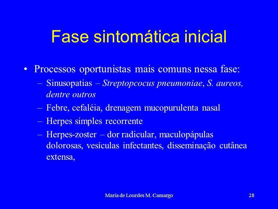 Maria de Lourdes M. Camargo28 Fase sintomática inicial Processos oportunistas mais comuns nessa fase: –Sinusopatias – Streptopcocus pneumoniae, S. aur