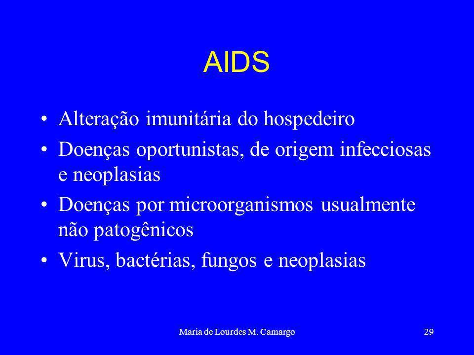 Maria de Lourdes M. Camargo29 AIDS Alteração imunitária do hospedeiro Doenças oportunistas, de origem infecciosas e neoplasias Doenças por microorgani