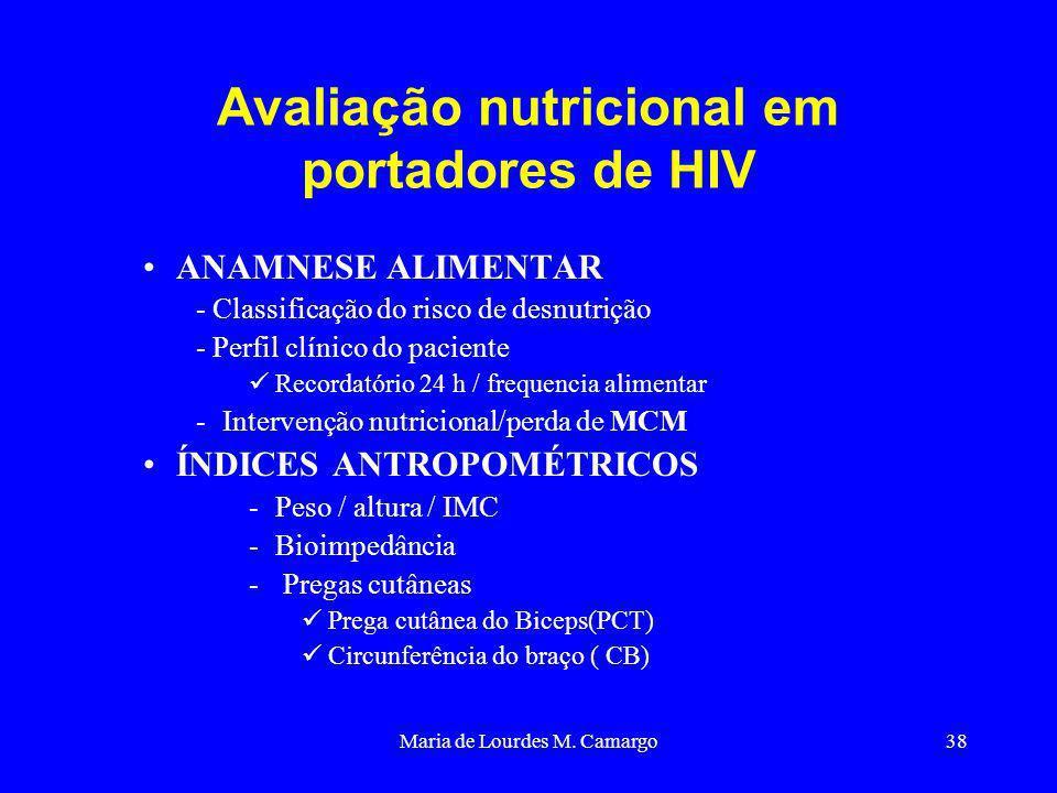 Maria de Lourdes M. Camargo38 Avaliação nutricional em portadores de HIV ANAMNESE ALIMENTAR - Classificação do risco de desnutrição - Perfil clínico d