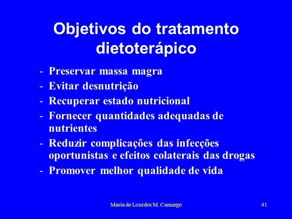 Maria de Lourdes M. Camargo41 Objetivos do tratamento dietoterápico -Preservar massa magra -Evitar desnutrição -Recuperar estado nutricional -Fornecer