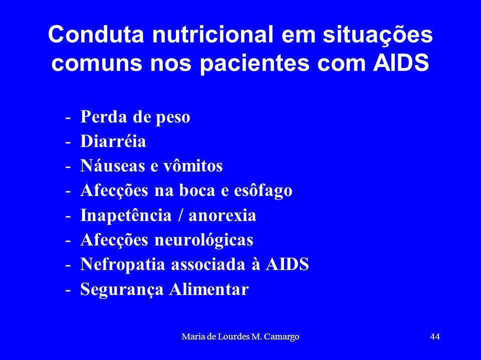Maria de Lourdes M. Camargo44 Conduta nutricional em situações comuns nos pacientes com AIDS -Perda de peso -Diarréia -Náuseas e vômitos -Afecções na