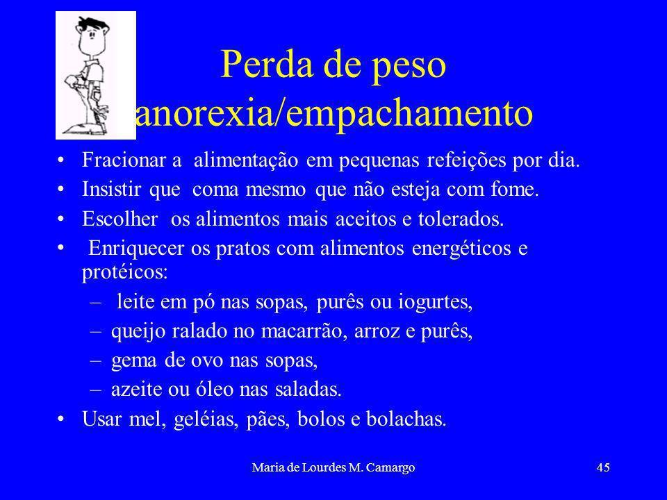 Maria de Lourdes M. Camargo45 Perda de peso anorexia/empachamento Fracionar a alimentação em pequenas refeições por dia. Insistir que coma mesmo que n