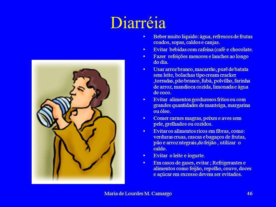 Maria de Lourdes M. Camargo46 Diarréia Beber muito líquido: água, refrescos de frutas coados, sopas, caldos e canjas. Evitar bebidas com cafeína (café
