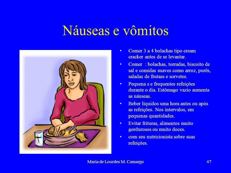Maria de Lourdes M. Camargo47 Náuseas e vômitos Comer 3 a 4 bolachas tipo cream cracker antes de se levantar. Comer : bolachas, torradas, biscoito de