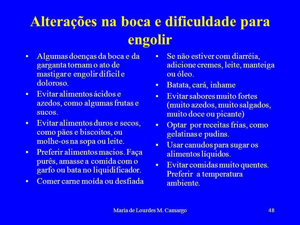 Maria de Lourdes M. Camargo48 Alterações na boca e dificuldade para engolir Algumas doenças da boca e da garganta tornam o ato de mastigar e engolir d