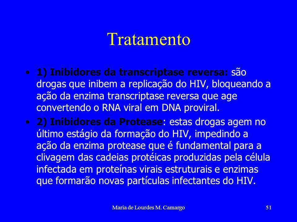 Maria de Lourdes M. Camargo51 Tratamento 1) Inibidores da transcriptase reversa: são drogas que inibem a replicação do HIV, bloqueando a ação da enzim