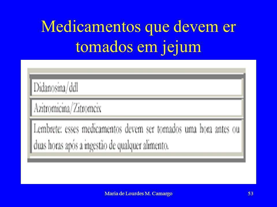 Maria de Lourdes M. Camargo53 Medicamentos que devem er tomados em jejum