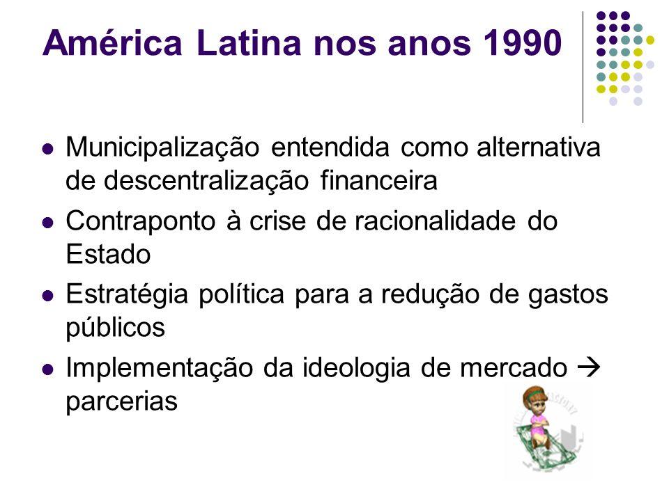 América Latina nos anos 1990 Municipalização entendida como alternativa de descentralização financeira Contraponto à crise de racionalidade do Estado