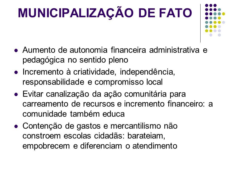 MUNICIPALIZAÇÃO DE FATO Aumento de autonomia financeira administrativa e pedagógica no sentido pleno Incremento à criatividade, independência, respons