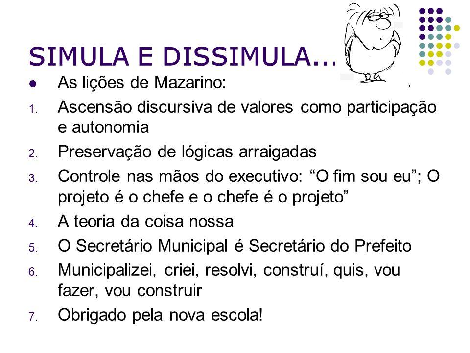 SIMULA E DISSIMULA... As lições de Mazarino: 1. Ascensão discursiva de valores como participação e autonomia 2. Preservação de lógicas arraigadas 3. C